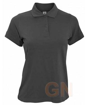 Polo B&C de algodón de manga corta para mujer color negro