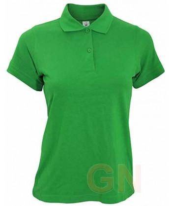 Polo B&C de algodón de manga corta para mujer color verde kelly