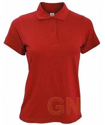 Polo B&C de algodón de manga corta para mujer color rojo