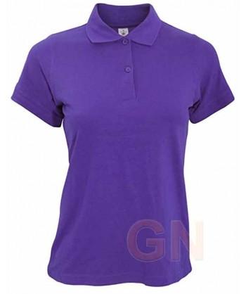 Polo B&C de algodón de manga corta para mujer color púrpura