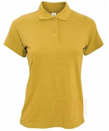 Polo B&C de algodón de manga corta para mujer color oro