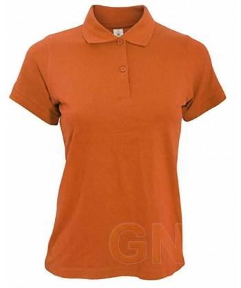 Polo B&C de algodón de manga corta para mujer color naranja