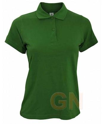 Polo B&C de algodón de manga corta para mujer color verde botella