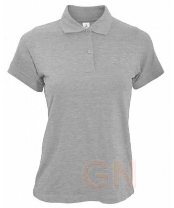 Polo B&C de algodón de manga corta para mujer color heather gris
