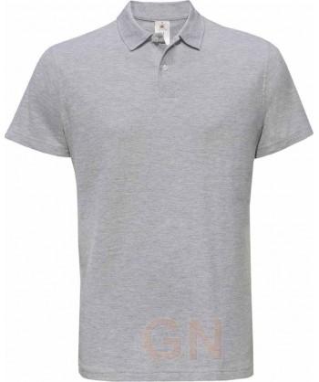 Polo manga corta B&C de algodón color gris heather