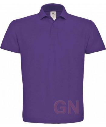 Polo manga corta B&C de algodón color purpura