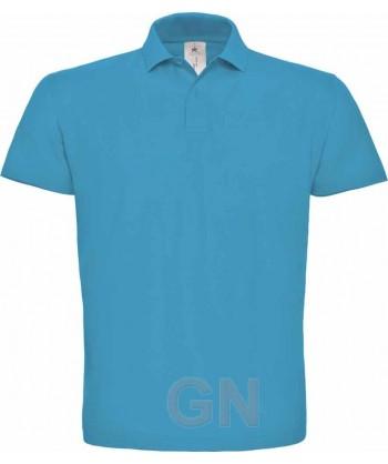 Polo manga corta B&C de algodón color azul atoll