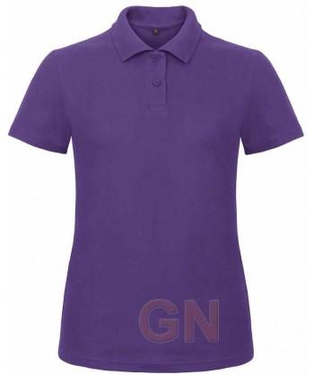 Polo económico manga corta B&C de mujer color púrpura