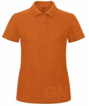 Polo económico manga corta B&C de mujer color naranja