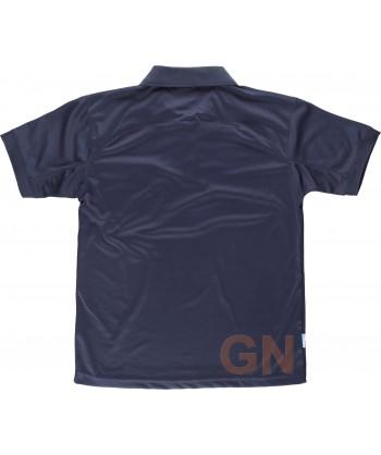 Polo transpirable de manga corta con bolsillo color marino