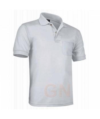 Polo de algodón con bolsillo y manga corta color blanco