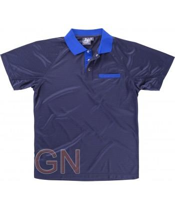 Polo bicolor transpirable de manga corta con bolsillo marino/azulina