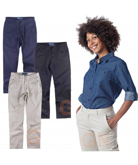 Pantalón tipo chino tejido elástico para mujer