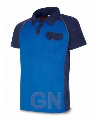 Polo combinado de manga corta y transpirable azulina/marino