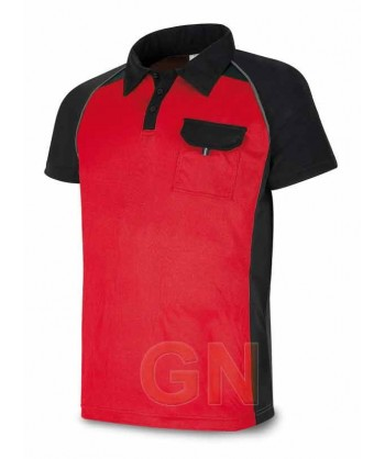 Polo combinado de manga corta y transpirable rojo/negro