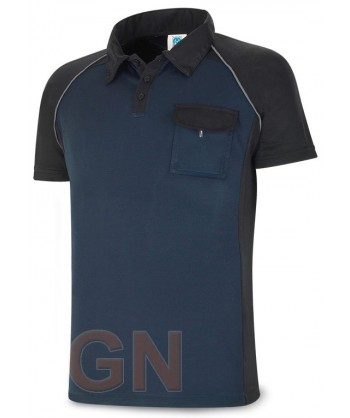 Polo combinado de manga corta y transpirable marino/negro