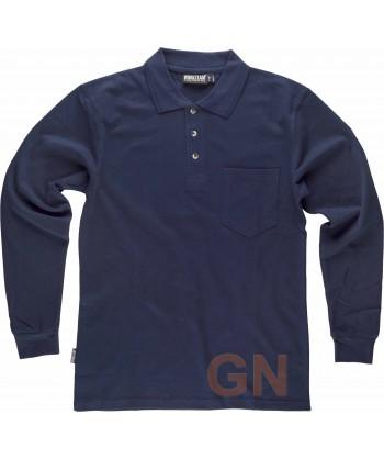 Polo de algodón de manga larga con bolsillo color marino