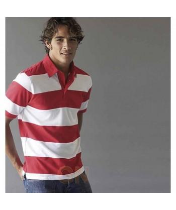 Polo a rayas de manga corta tipo rugby para hombre rojo/blanco