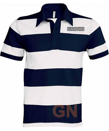 Polo a rayas de manga corta tipo rugby para hombre marino/blanco