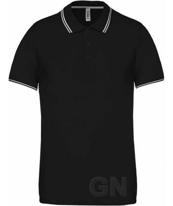 Polo negro de manga corta con el cuello y mangas combinados en gris y blanco