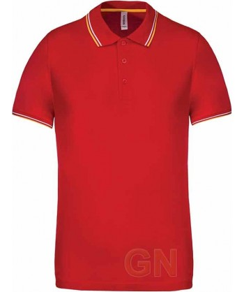 Polo rojo de manga corta con el cuello y mangas combinados en blanco y amarillo