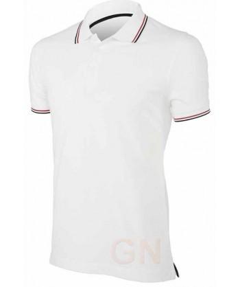 Polo blanco de manga corta con el cuello y mangas combinados en marino y rojo