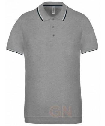 Polo gris de manga corta con el cuello y mangas combinados en marino y blanco