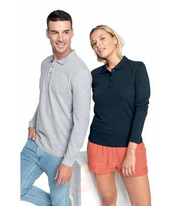 Polo de algodón de manga larga dos modelos; hombre y mujer