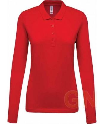Polo Kariban de manga larga para mujer color rojo