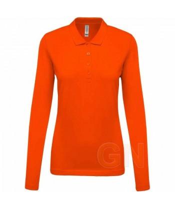 Polo Kariban de manga larga para mujer color naranja