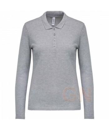 Polo Kariban de manga larga para mujer color gris