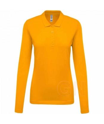 Polo Kariban de manga larga para mujer color amarillo