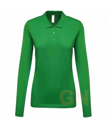 Polo Kariban de manga larga para mujer color verde kelly