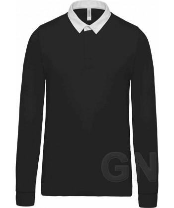 Polo tipo rugby de algodón de manga larga color negro