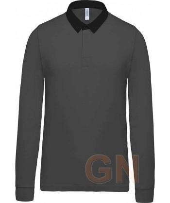 Polo tipo rugby de algodón de manga larga color gris oscuro