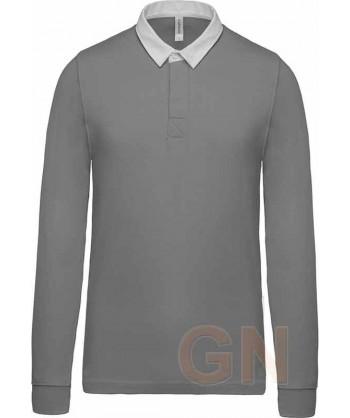 Polo tipo rugby de algodón de manga larga color gris claro
