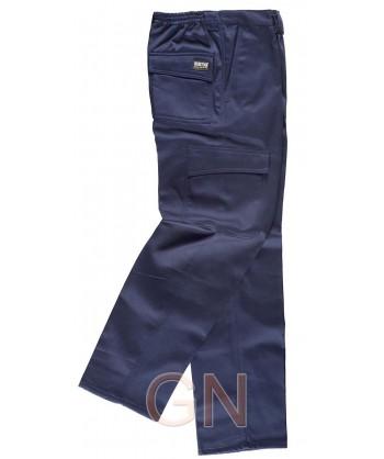 Pantalón multibolsillos con forro polar marino