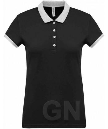 Polo de mujer, manga corta con el cuello y mangas combinados negro/gris