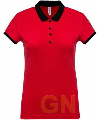 Polo de mujer, manga corta con el cuello y mangas combinados rojo/negro