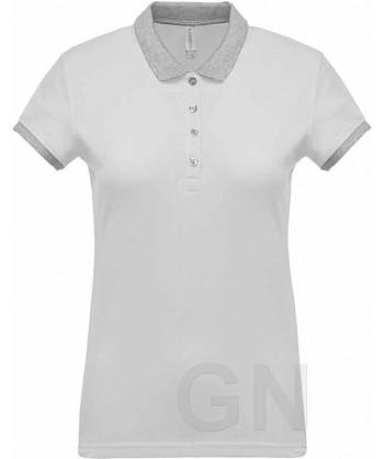 Polo de mujer, manga corta con el cuello y mangas combinados blanco/gris