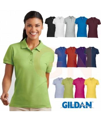 Polo entallado de mujer manga corta Gildan de algodón