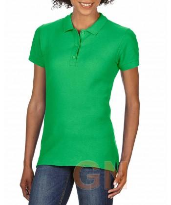 Polo entallado de mujer manga corta Gildan de algodón color verde