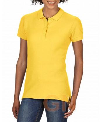 Polo entallado de mujer manga corta Gildan de algodón color amarillo