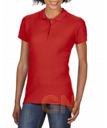Polo entallado de mujer manga corta Gildan de algodón color rojo
