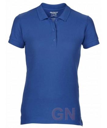 Polo entallado de mujer manga corta Gildan de algodón color azul zafiro