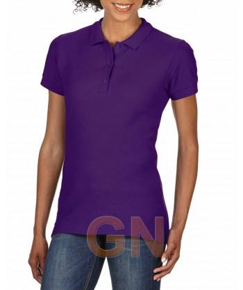 Polo entallado de mujer manga corta Gildan de algodón color púrpura