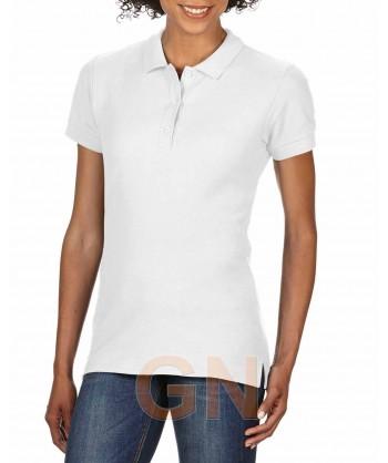 Polo entallado de mujer manga corta Gildan de algodón color blanco