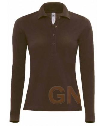 Polo de mujer B&C de algodón y manga larga color marrón