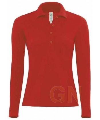 Polo de mujer B&C de algodón y manga larga color rojo