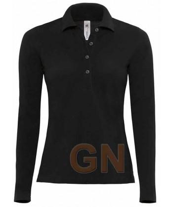 Polo de mujer B&C de algodón y manga larga color negro